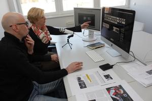 Zum Aufsprechen des Kommentars für die beiden Präsentationen haben wir Birgit Kostner den Medienraum des Bauverlags zur Verfügung gestellt<br /><br />