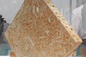 """Rechts: Auf dem Gemeinschaftsstand der Saint-Gobain-Gruppe gab es bei Isover den Prototypen einer Dämmplatte aus Rohrkolben zu sehen<span class=""""bildnachweis"""">Foto: Thomas Wieckhorst</span>"""