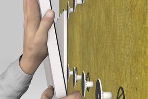 """""""StoSystain R"""" ist ein neues WDVS, das man unter Verzicht von Klebemörtel per Klettverbindung an der Außenwand befestigt<span class=""""bildnachweis"""">Foto: Sto</span>"""