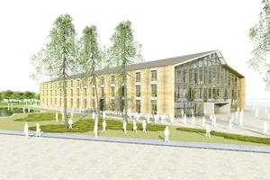 """So soll das fertige Bürogebäude auf dem Alnatura Campus in Darmstadt aussehen<span class=""""bildnachweis"""">Rendering: Haas Cook Zemmrich Studio 2050</span>"""