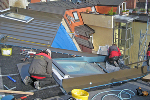 Einbau der Flachdachfenster