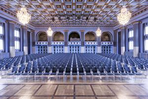 Der historische Saal ist mit leistungsfähiger Veranstaltungstechnik ausgestattet
