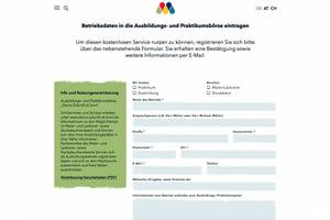 Registrierung für die Praktikums- und Lehrstellenbörse auf der Kampagnenwebsite