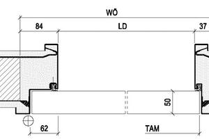 Die Spitalfalzstahlzarge von Schörghuber ist bereits zum heutigen Zeitpunkt nach EN 16034 zertifiziert und CE-gerecht nachgewiesen. Bei dieser neu entwickelten Zarge wurde die Falzgeometrie so konzipiert, dass das Türblatt im 90 Grad geöffneten Zustand bündig zur Zarge ist und nicht, wie bei gewöhnlichen Stahlzargen, über diese hinausragt⇥Zeichnungen: Schörghuber