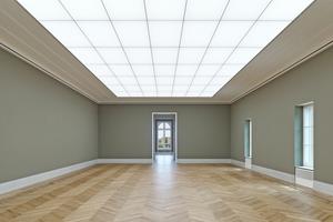 Ausstellungssaal mit Lichtdecke im Obergeschoss