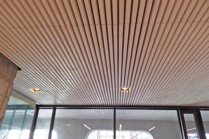 Holzlamellen bilden heute die Sichtdecke im neuen Erdgeschoss des Tübinger Rathauses