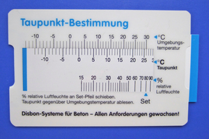 """Rechenschieber zur Bestimmung der Taupunkttemperatur<span class=""""bildnachweis"""">Fotos: Manfred Schröder</span>"""