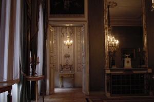 Die Wandmalerei im Kabinettzimmer des Südlichen Pavillions von Schloss Nymphenburg, 1664 – 1758, München diente als Vorbild für die Kalkkaseinmalerei