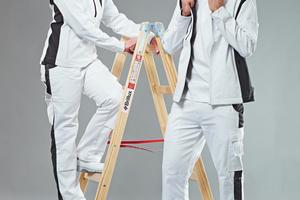 Links: Die seitlichen Dehneinsätze und verstärkte Taschen erfüllen die Anforderung nach Bewegungsfreiheit und StrapazierfähigkeitFoto: Brillux