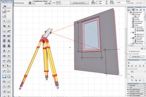 Links: Mit dem tachymetrischen 3D-Aufmaß werden vor Ort sogar komplette BIM-Objekte erfasst Abbildung: Flexijet