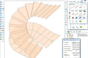 Rechts: Darstellung der Treppe aus Ortbeton im CAD-Programm Abbildung: C-Techniken M. Möbius