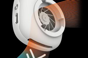 "Rechts: Der Mikroventilator befördert verbrauchte Luft aus der Maske heraus<span class=""bildnachweis"">Fotos: iTools</span>"