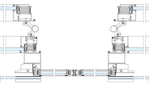 Tagesbetrieb mit 180 Grad geöffneten Flügeln (T30/T90 Aluminium-Rohrrahmenelemente) und Schiebetür (AD 100-X) im Automatik-Betrieb