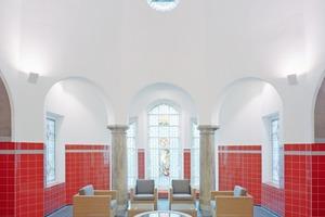 Der historischen Kuppelraum der alten Sauna wurde in seiner Anmutung wiederhergestellt Foto: Klemens Ortmeyer  Zeichnung: Veauthier Meyer Architekten