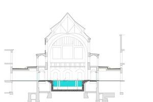 Schnitt, Maßstab 1:750⇥Zeichnung: cpm architekten