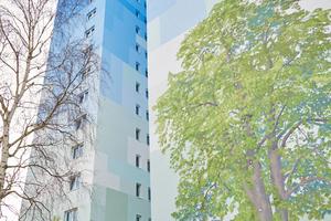"""Seit März vergangenen Jahres schmückt das sanierte Hochhaus eine illusionistische Fassadenmalerei des Künstlers Ulrich Allgaier<span class=""""bildnachweis"""">Fotos (3): Baugenossenschaft Langen eG</span>"""