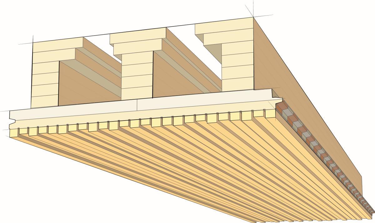 3D-Akustikdecke aus Holz - bauhandwerk