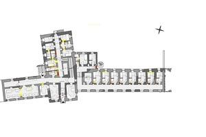 Grundriss Erdgeschoss, Maßstab 1:400⇥Zeichnungen: Georg Roggenhofer