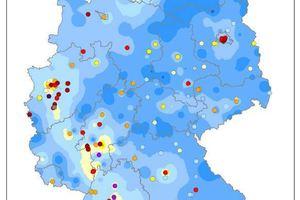 """Die """"Brennpunkte"""" in Sachen Stickoxidbelastung in Deutschland im Jahr 2017 Grafik: Umwelt Bundesamt<br /><br />"""