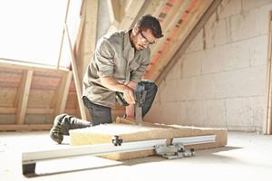 ... als auch flexible Dämmmaterialien wie zum Beispiel Holzweichfaser, Mineral- und Steinwolle⇥Fotos: Festool