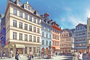 """Der Hühnermarkt in Frankfurt am Main wird zum zentralen Platz des neuen Viertels DomRömer<span class=""""bildnachweis"""">Rendering: DomRömer GmbH</span>"""