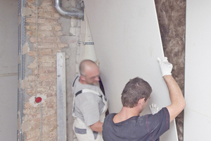 Die Mitarbeiter des Trockenbaufachunternehmens Erk verarbeiteten 12,5mm dicke Gipsfaserplatten