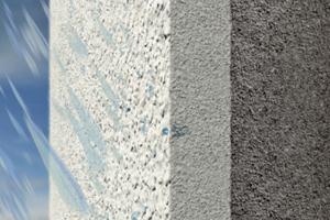 Bei stark wasserabweisenden Oberputzen bleibt nach der Beregnung lange Zeit Feuchtigkeit auf der Oberfläche stehen