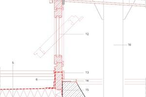 Klassenzimmer Detail Gesims Hochpunkt, Maßstab 1:12,5 Zeichnung: Pfeiffer . Ellermann . Preckel Architekten und Stadtplaner