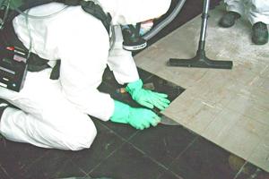 Entfernen von Floor-Flex-Platten auf asbesthaltigem Kleber