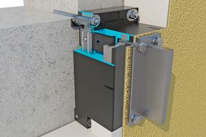 Tragkonsolen werden in das WDVS integriert und leiten schwere Lasten direkt in den Wandbildner ab