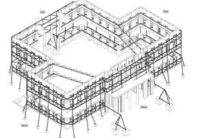 """Isometrie, Stahlbau stützt historische Fassade, ohne Maßstab<div class=""""bildnachweis"""">Zeichnung: Stahlbau Süssen</div>"""