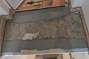 """Ausbesserungen mit Cryl Spachtel und Herstellen einer sauberen Oberfläche mit Gefälle mit """"Cryl RS 240"""""""