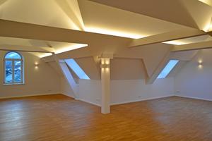 Blick in das fertig ausgebaute Dachgeschoss