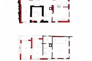 Grundriss Obergeschoss, Maßstab 1:200 (rot = Dämmbeton)