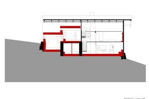 """Schnitt, Maßstab 1:200 (rot = Dämmbeton)<div class=""""bildnachweis"""">Zeichnung: Peter Haimerl . Architektur</div>"""