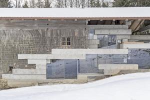 In der Seitenansicht gut zu sehen: der Übergang in der Fassade von Holzschindeln zu Glas und Beton