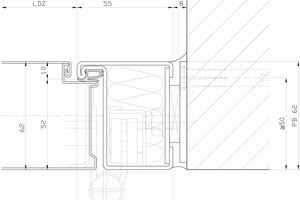 """Detailschnitt Zarge, Maßstab 1:2<span class=""""bildnachweis"""">Zeichnung: Hörmann</span>"""