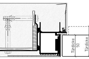 """Detailschnitt """"Zeroline function"""" (Türdicke 70 / 73 mm) und """"Zeroline living"""" (Türdicke 50 mm)"""
