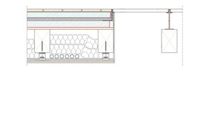 Deckenschnitt Zimmer / Gang mit Glasboden, Maßstab 1:10<br />