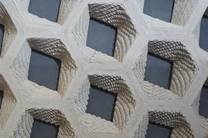 """Baumit zeigte in der Ausstellung """"DNA für den Putz der Zukunft"""" eine als Modulation in Waben gedruckte Putzfassade"""