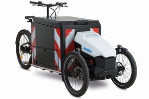 """Konnte man auf einem Lastenradparcours auf der FAF ausprobieren: das elektrisch angetriebene Lastenrad """"Procargo CT1""""<br />Foto: Sortimo"""