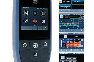 """Das neue Universalfeuchtemessgerät """"Hydromette CH 17"""" bietet zwei gleichzeitige Messungen, Datenlogger-Modus, Listenmessungen, Messung mit grafischer Kurvenfunktion, Rastermessung, Mittelwert-Berechnung und Screenshot-Funktion"""