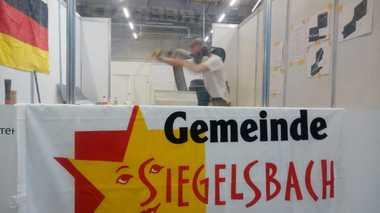 Die Gemeinde Siegelsbach wünscht Steinmetz Julian Wally für den Wettbewerb alles Gute, sein Vater hat dort einen Steinmetzbetrieb<br />