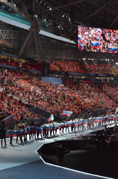 Einmarsch des Gastgeberlandes. Der Wettbewerb findet 2019 erstmals in Russland statt, in der 1,2-Millionen-Einwohner-Metropole Kasan, der Hauptstadt von Tatarstan. An den vier Wettkampftagen werden rund 250.000 Besucher erwartet