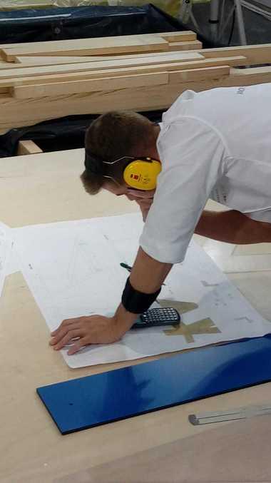 Alexander Bruns, Zimmerer aus der Nationalmannschaft der Zimmerer im Wettbewerb bei den World Skills 2019 in Kazan<br />