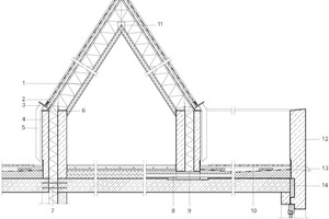 """Detailschnitt Attika Dachterrasse, Maßstab 1:50<irfontsize style=""""font-size: 6.500000pt;"""">1Dachaufbau:<br />Elastomer-Bitumenschweißbahn mit mineralischem </irfontsize><irfontsize style=""""font-size: 6.500000pt;"""">Oberflächenschutz 5 mm<br />Elastomer-Bitumendachbahn als Trenn- und </irfontsize><irfontsize style=""""font-size: 6.500000pt;"""">Ausgleichsschicht 5 mm<br />Dachschalung, Nut und Feder 24 mm<br />Konterlattung 4/6 mm<br />diffusionsoffene Schalungsbahn 5 mm<br />Sparren 120/240 mm mit Zwischensparrendämmung<br />OSB-Platte 15 mm<br />Installationsebene und Wärmedämmung 60 mm<br />Gipskartonplatte 12,5 mm<br />2Schleppblech<br />3gleichschenkliger L-Stahl 150/100/16 mm<br />5 Titanzink-Fallrohr<br />6Stahlwinkel 160/80/12 + 70/12 Ankerbolzen<br />7tragendes Wärmedämmelement<br />8Sogleitung (gedämmt)<br />9Dichtungseinsatz/Rohrdurchführung<br />10Dachaufbau:<br />Holzdielen Lärche 30 mm<br />Unterkonstruktion Terrassenbelag 45 mm<br />Abdichtung 2-lagig, Elastomer-Bitumenbahn je 5 mm<br />Gefälledämmung 160 – 100 mm<br />Dampfsperre und Bitumenvoranstrich<br />Betondecke 250 mm<br />11Firstfette 120/160<br />12Betonbrüstung<br />13Notüberlauf aus Edelstahl<br />14EPS-Dämmplatte</irfontsize>"""