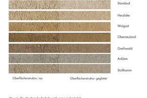 Bremer Muschelkalk ist standardmäßig in sieben unterschiedlichen Farben erhältlich. Je nach Verarbeitung wird die Oberflächenstruktur rau und damit dunkler oder glatt und damit heller. Dadurch kann das Mörtelsystem auf den jeweiligen Bestand angepasst werden