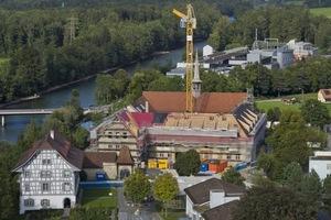 """Voll eingerüstet: Klosteranlage Rathausen aus der Vogelperspektive<span class=""""bildnachweis"""">Fotos: <a href=""""http://www.mc-bauchemie.de"""">MC-Bauchemie</a></span>"""