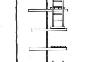 """<irspacing style=""""letter-spacing: -0.01em;"""">Die in die Wand eingemauerten Riegel tragen die Laufbohlen, die auch zur Materialablage dienen mussten. Nur bestimmte Wanddicken waren für diese Bauweise geeignet</irspacing>"""