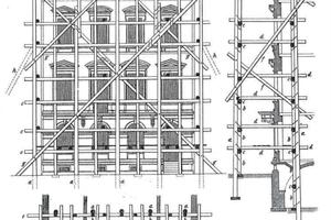 Planung eines Fassadengerüstes mit verfahrbarer Seilwinde auf der obersten Gerüstetage. Eine Lösung für das Versetzen schwerer Fassadenelemente in jeder Lage (nach O. Warth, Konstruktionen in Holz,6. Aufl. Tafel 117, Leipzig 1900)<br />